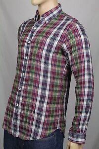 Ralph Lauren Navy Burgundy Custom Plaid Dress Linen Shirt NWT $145