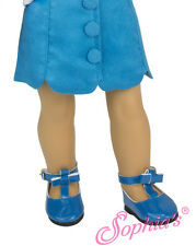 """Teal Suede Skirt w/Covered Buttons fits 18"""" American Girl Doll"""