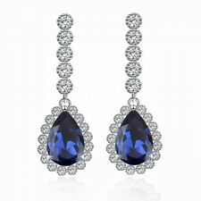 STUNNING 18K WHITE GOLD GP CZ & AUSTRIAN CRYSTAL SAPPHIRE BLUE DANGLE EARRING