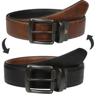 Levis Leather Belt Men's 38mm Reversible Casual Belt with Stitch Edge, Tan/black