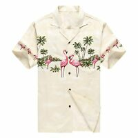 Made in Hawaii Men Hawaiian Aloha Shirt Luau Beach Cruise Pink Flamingos Cream
