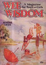 1935 Wee Wisdom August - Swimming; Queer Duet; Boston Terrier; Paper doll
