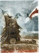 """On The Path"" Horse Rider Original Graphic Print Ex libris Etching Peter Velikov"