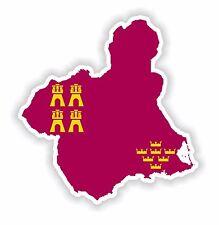 Silueta de etiqueta engomada de la región de Murcia España Map Bandera Para Coche De Parachoques Pegatina