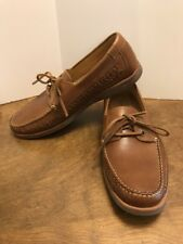 Tommy Bahama Men's Brenton Boat Shoes Brown Leather Size 9M Slip Ons EUC