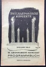 Arturo Toscanini, Concert Programme, Vienna Philharmonic, 1936