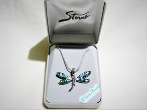 925 Sterling Silver Abalone Shell & Topaz Dragonfly Pendant W/.925 Necklace,NEW