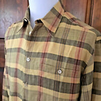 ERMENEGILDO ZEGNA ITALY Men L LINEN BLEND YELLOW RED BLACK BLUE L/S Button Shirt
