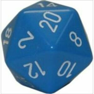 L. BLUE/WHITE Highly Collectible Excellent Quality D20 Dice Opaque (34 mm)