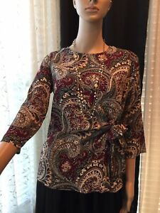 Dressbarn Paisley Petite Knotted Stretchy Top XS 3/4 sleeve Round neck Button