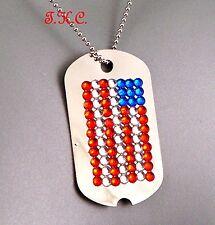 Patriot Rojo Azul Diamantes de imitación Usa Bandera Star Banner Estilo Militar Dog Tag Necklace