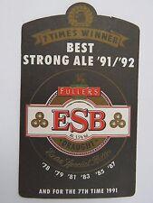 Beer Coaster:  Fuller's ESB - 7 Time Winner - Best Strong Ale 1991-1992 -England