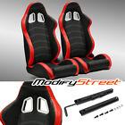 2 X Blackred Pvc Leatherwhite Stitch Leftright Racing Bucket Seats Slider