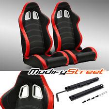 2 X Blackred Pvc Leatherwhite Stitch Leftright Racing Bucket Seats Slider Fits Toyota Celica