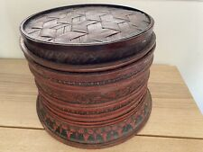 Chinese Rice Wood Basket Hand painted Red Flower Beautiful Antique