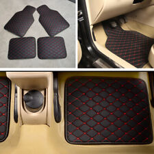 4PCS/Set Leather Car Vehicle Floor Mats Waterproof Liners Carpets Black+Red Line