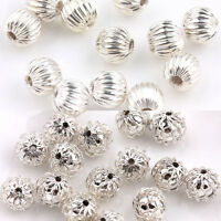 Lots 50Pcs Silver Plated Round Metal Loose Spacer Charms Beads DIY Jewelry 6 8mm