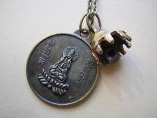 Brass Necklace Dragon & Quan Ying Goddess Buddha Pendant & Prayer Temple Bell