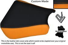 Black & orange 00-01 custom fits honda cbr 900 coureur devant housse siège en cuir