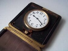 Sandoz windup travel clock. Runs, but crown detached. Pre-owned.