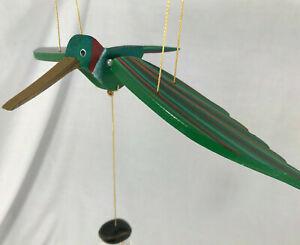 Hummingbird Wooden Articulated Bird Pull Mobile Toy Outdoor Decor Kids Bedroom