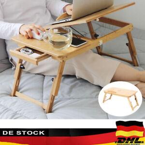 Bambus Laptoptisch Notebooktisch Bett Tisch Tablett Ständer Höhenverstellbar NEU
