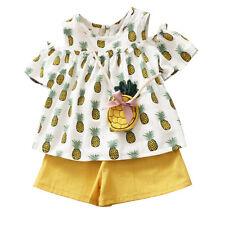 Newborn Toddler Kids Baby Girl Dress Top T shirt+Short Pants Outfits Set Clothes