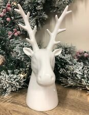 22cm White Ceramic Reindeer Bust Home Decorative Christmas Ornament 6850