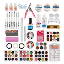 27 in 1 Nail Art Kits Brush Glue Glitter Powder Top Coat UV Gel Kit Tools Set