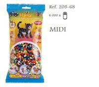 205-68 Hama  Beads MIDI 6000x Piezas, MIX 48 colores, 48 colours MIX