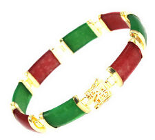 Red Green Jade Fortune Luck Yellow Gold Plated Link Clasp Bangle Bracelet