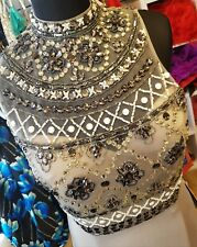 Evening/ Promdress Size 12 Beaded 2 piece.slate grey NEW