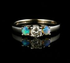 ROUND BRILLIANT NATURAL DIAMOND & AUSTRALIAN SEMI BLACK OPAL 14K WHITE GOLD RING