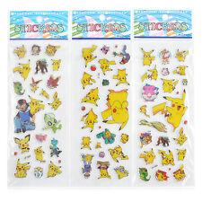 Hot Lovely 3Pcs Pikachu Pokemon Anime Stickers Cute Scrapbooking Sticker Sheet