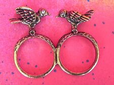 2 Finger Birds Rhinestone Eye Double Finger Ring Brass Knuckle Style Ring Women
