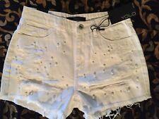 "ladies disressed YOLO Shorts sz S *boutique TLC *white w/ PEARLS 15""waist"