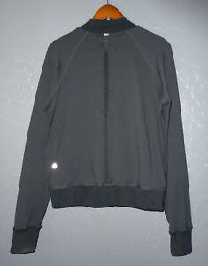 LULULEMON Om Me Home Full Zip Yoga Jacket SOLID BLACK Sheer Mesh Back Womens 12