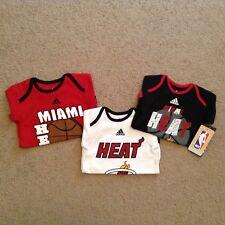 NBA Miami Heat Adidas Sz 12 Months Red Black White Creeper BodySuit Lot of 3 E1
