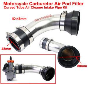 ID:48mm Air Intake Pipe Kit Carburetor Air Pod Filter Curved Tube Cleaner Intake