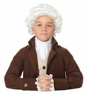 Colonial Man Peruke Judge Colonial Lawyer Barrister White Boys Costume Wig