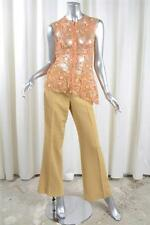 TULEH Womens Peach Lace Mesh Top Khaki Silk+Cotton Pants Trousers Outfit Set 8