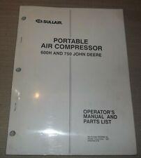 Sullair 600h 750 John Deere Air Compressor Parts Operation Maintenance Manual