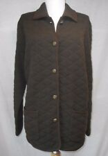Ralph Lauren Quilted Jacket Sz PL L 100%  Wool Brown Leather Trim Barn Horses