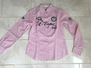 "Gaastra St Tropez Yacht Shirt Pink & White Stripes Women's 36"" Medium"