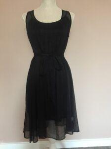 Lipsy Black Layered Two Piece Slip Sleeveless Sheer Long Shift Dress Small
