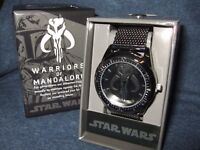 NIB Mens Star Wars Warriors of Mandalore Boba Fett Chain Link Wrist Watch Disney