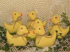 6 Handmade fabric baby chicks bowl fillers Prim Country Home Decor