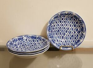 Williams Sonoma Aerin Lauder Sea Blue Bowl Set of 4 NEW