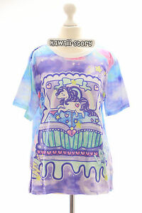 T-02 Lolita T-Shirt Einhorn Unicorn Harajuku Kawaii Pastel Goth bunt lila Sirup
