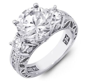 Gorgeous Designer Large 3 Stone Round Brilliant Diamond Semi Mount; PLATINUM